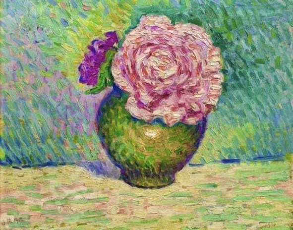 Jean Metzinger, 1902, Fleur rose dans un vase, oil on panel, 22 x 27 cm, Sale Piasa 25 March 2001