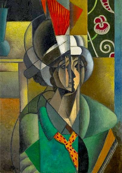Jean Metzinger, 1913, La Femme à l'Éventail Woman with a Fan, oil on canvas, 92.8 x 65.2 cm, Art Institute of Chicago