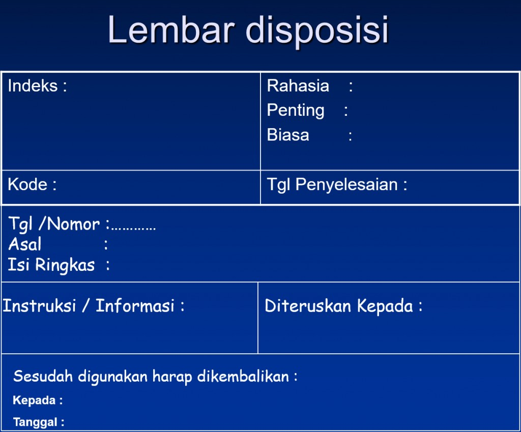 Lembar Disposisi