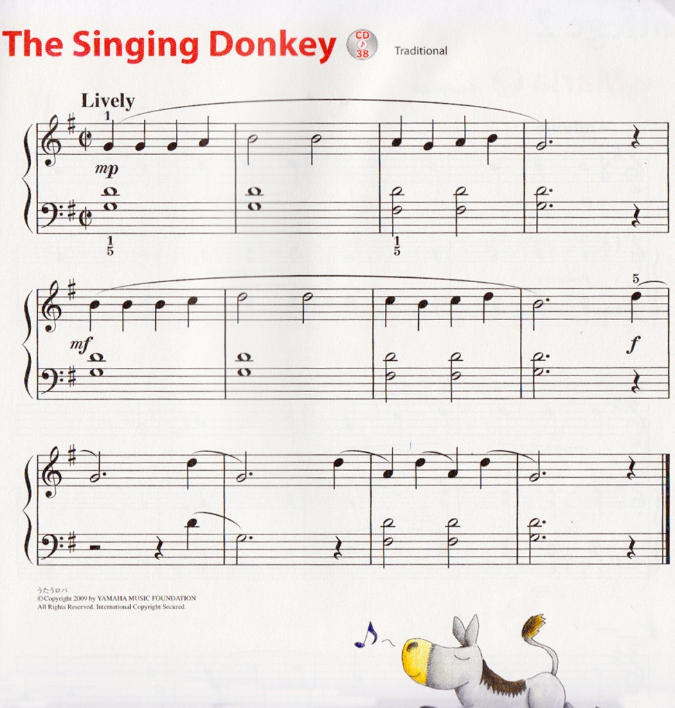 Partitur / Not Balok The Singing Donkey