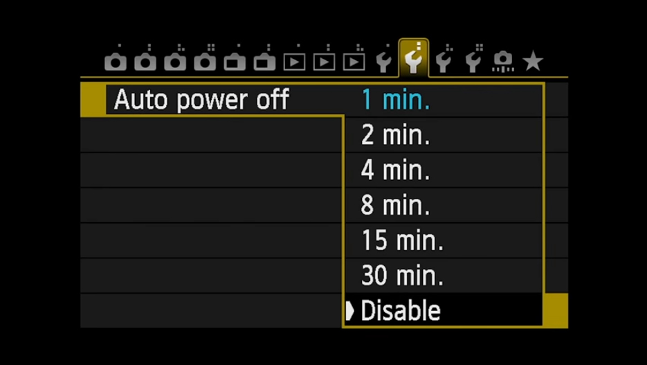 Auto Power Off: Disable