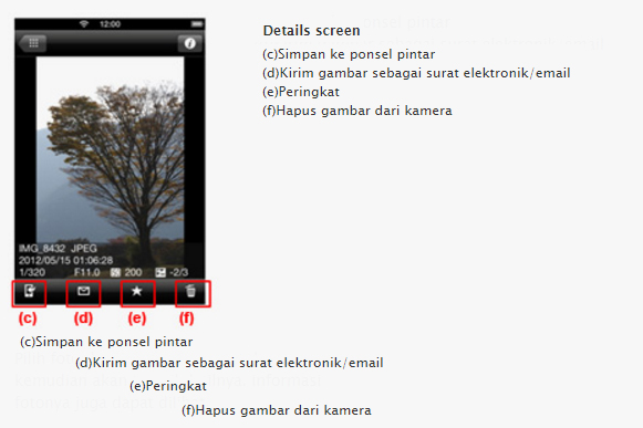 Detail Screen EOS Remote di hp Android