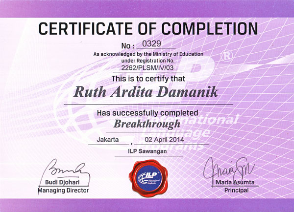 Certificate Breakthrough by Ruth Ardita Damanik