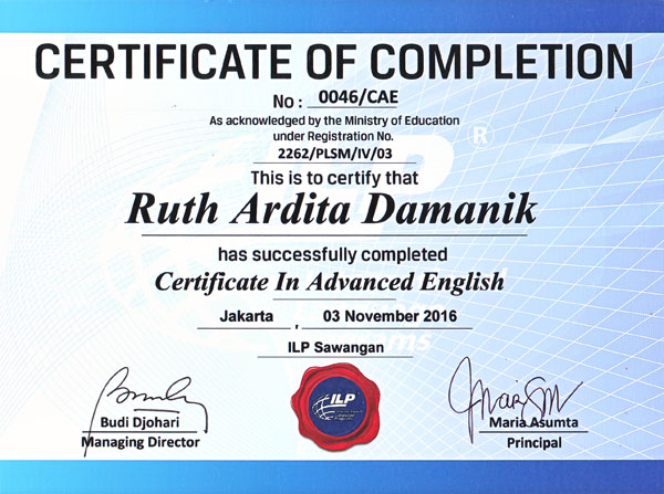 Certificate In Advanced English by Ruth Ardita Damanik