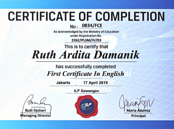 First Certificate in English by Ruth Ardita Damanik