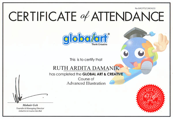 Sertifikat Anakku Ruth Lulus Kursus Advanced Illustration di Global Art