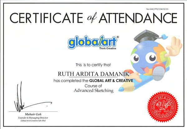 Sertifikat Anakku Ruth Lulus Kursus Advanced Sketching di Global Art