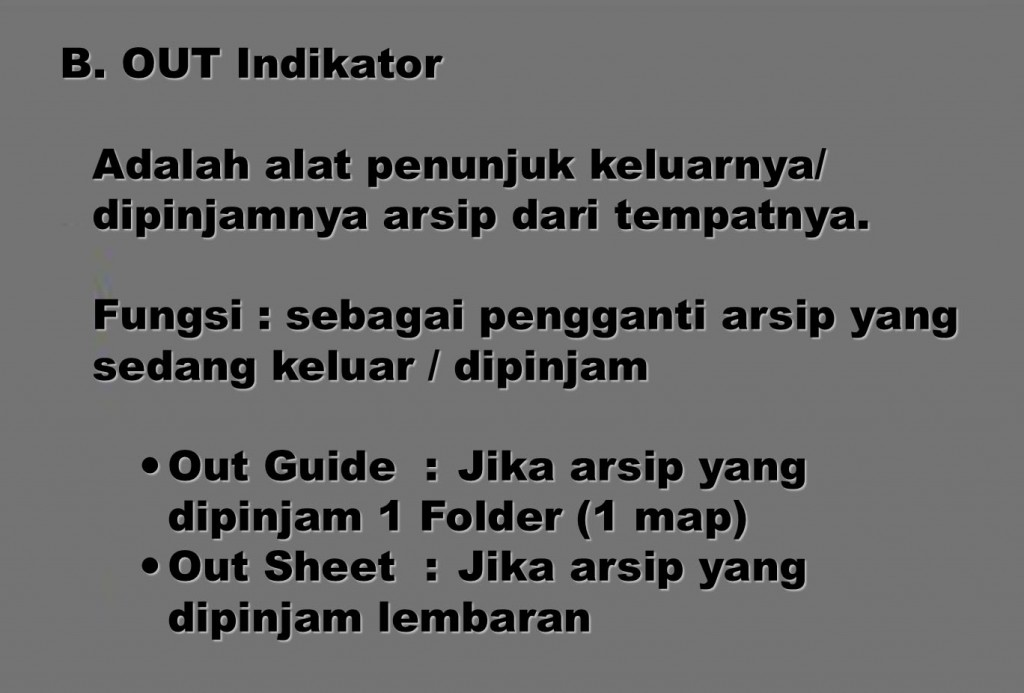 Sarana: Out Indikator